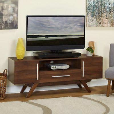 tv media entertainment stand brown walnut wood