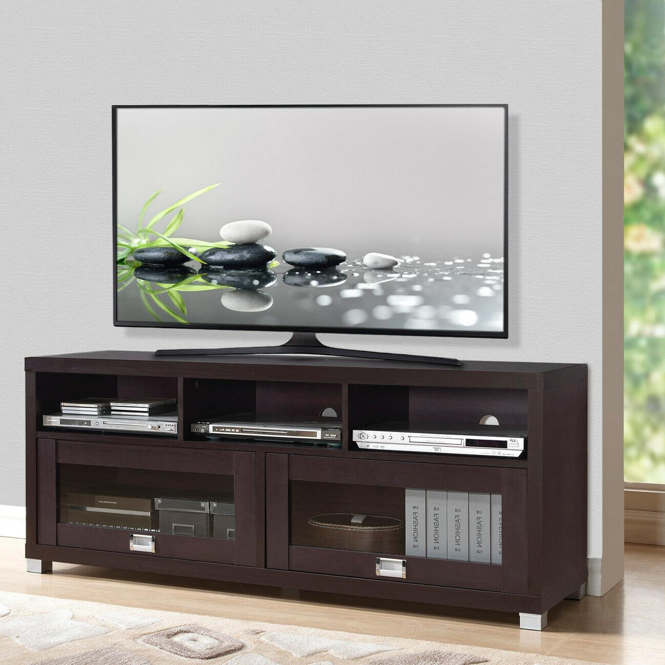 75 INCH TV STAND Center Console Cabinet Flat Screen Home Med