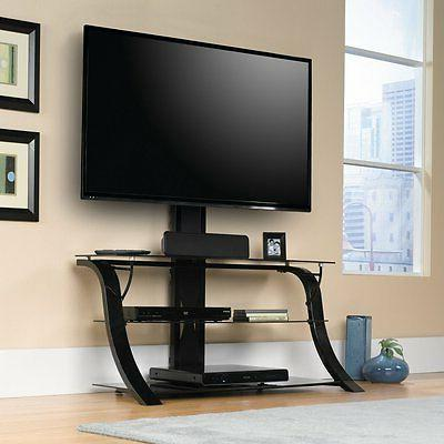 Sauder TV Stand with TV Mount, Black Finish 413418 New