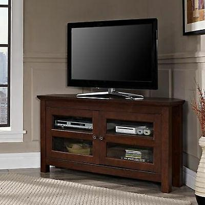 TV Stand Corner Entertainment Center Brown Living Room Furni