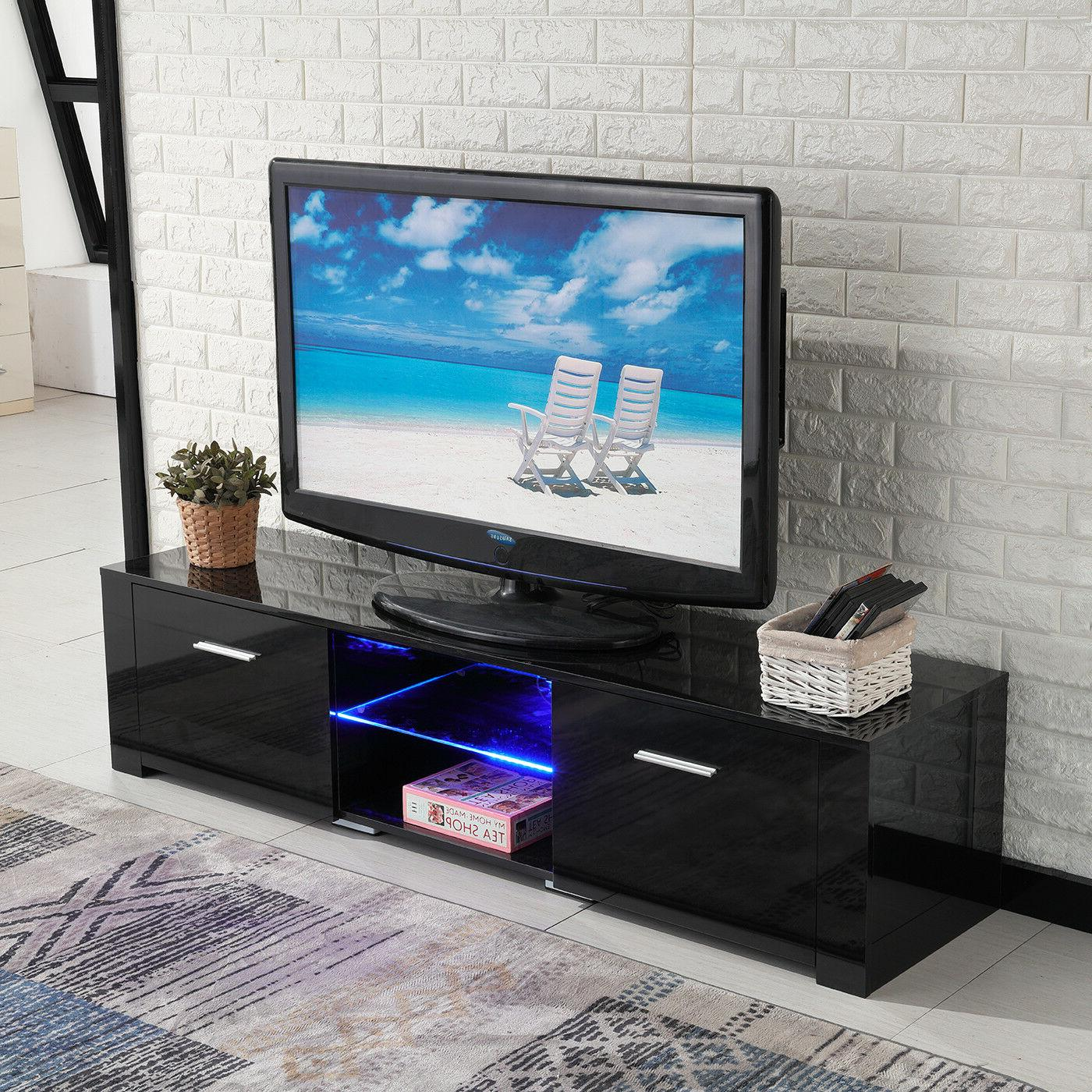 TV Stand High Black Unit LED Drawers Console