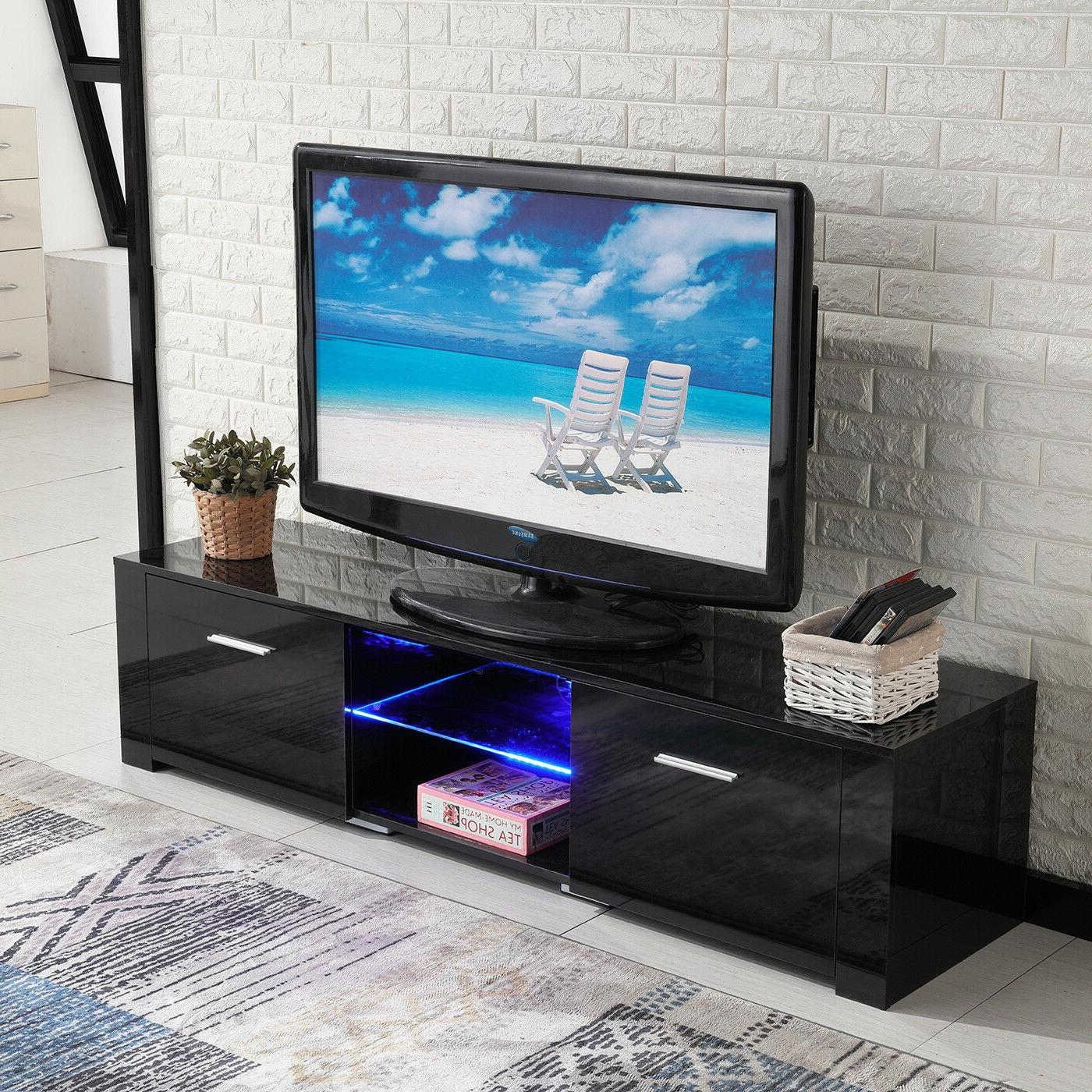 Black LED 2 Drawers Console