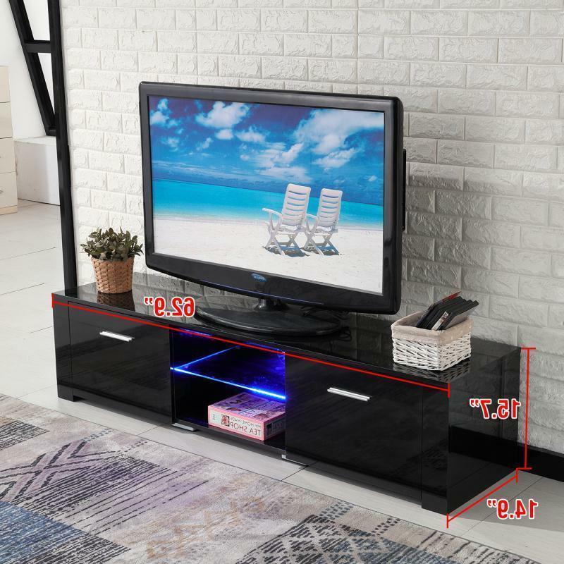 TV Stand Black Unit LED Light 2 Drawers