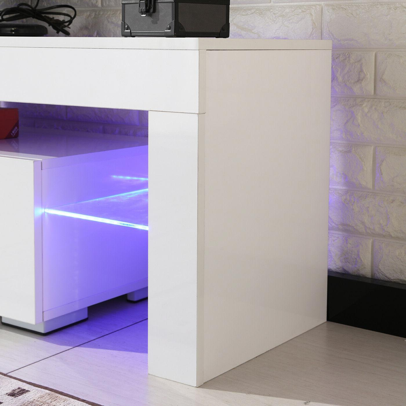 TV Stand High White Cabinet w/LED Shelves