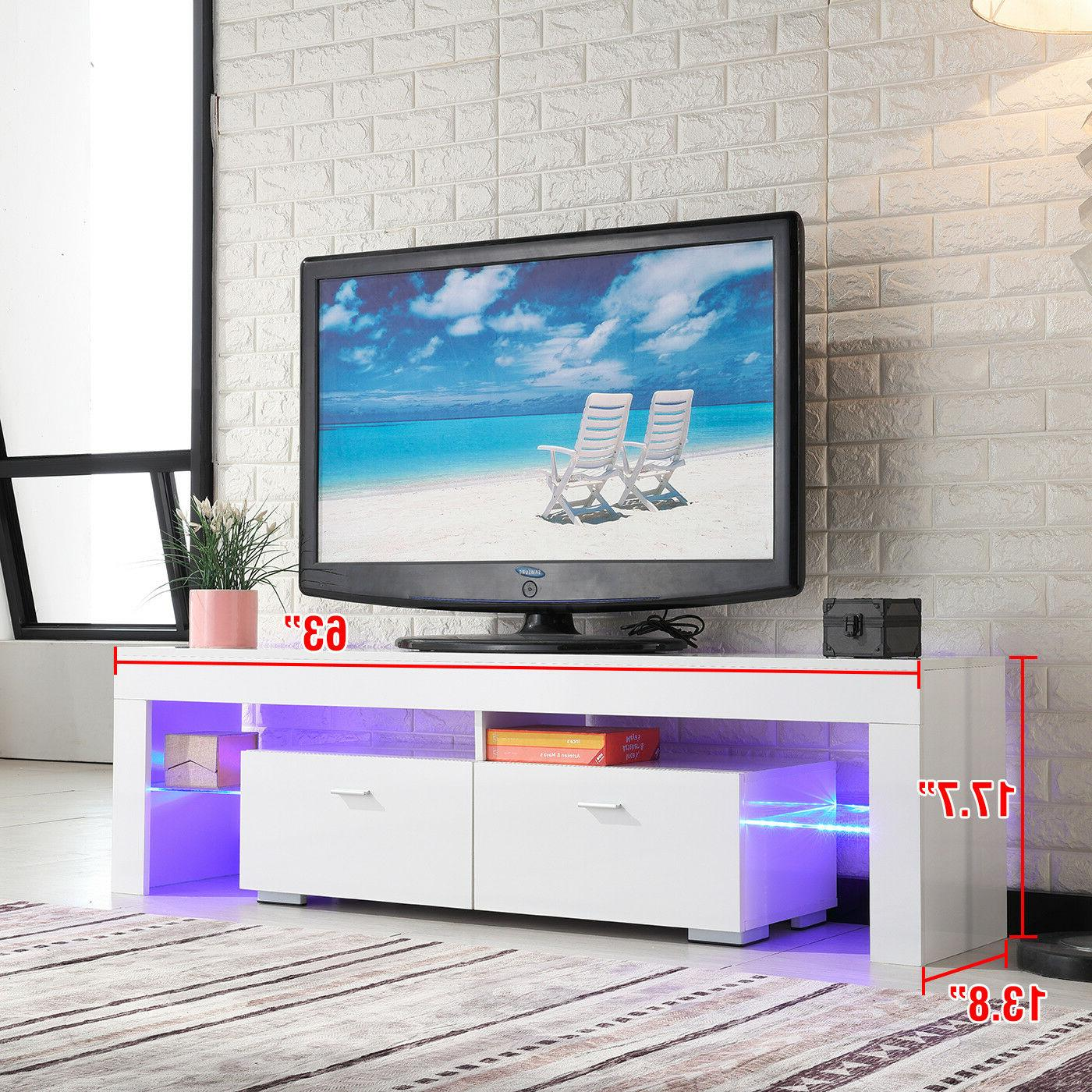 TV Stand High White Console w/LED