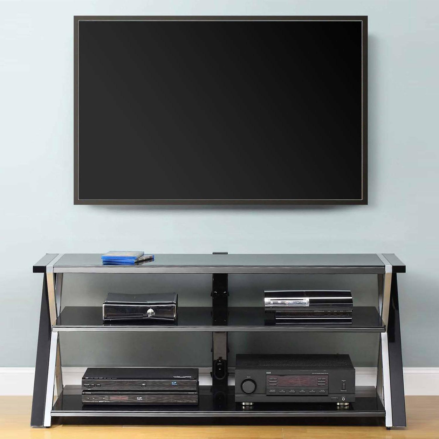 "Whalen Black TV Stand for 65"" Flat Panel TVs, Metal, Tempere"