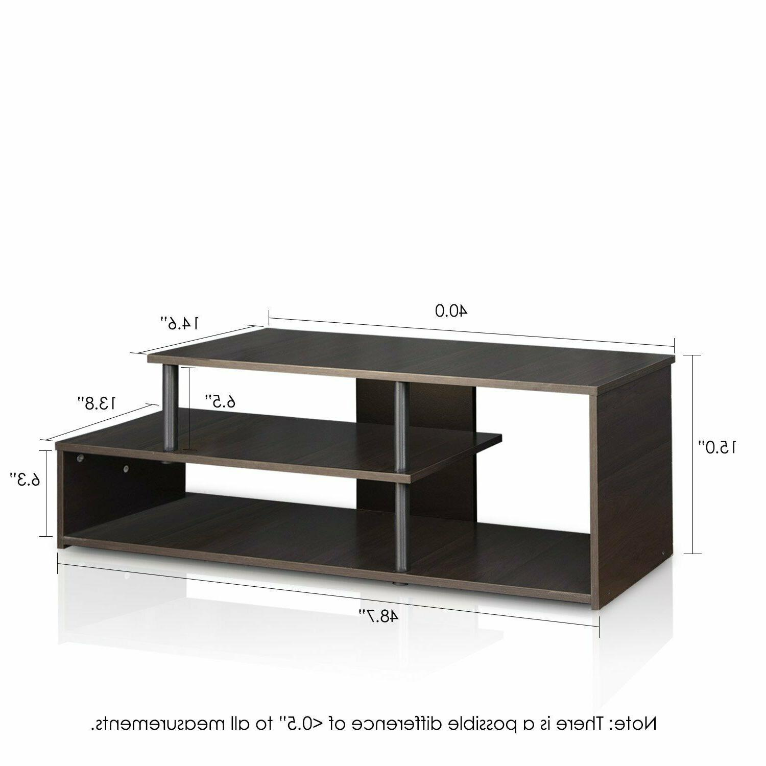 TV Stand Rise With Display Shelves For Bedroom Black