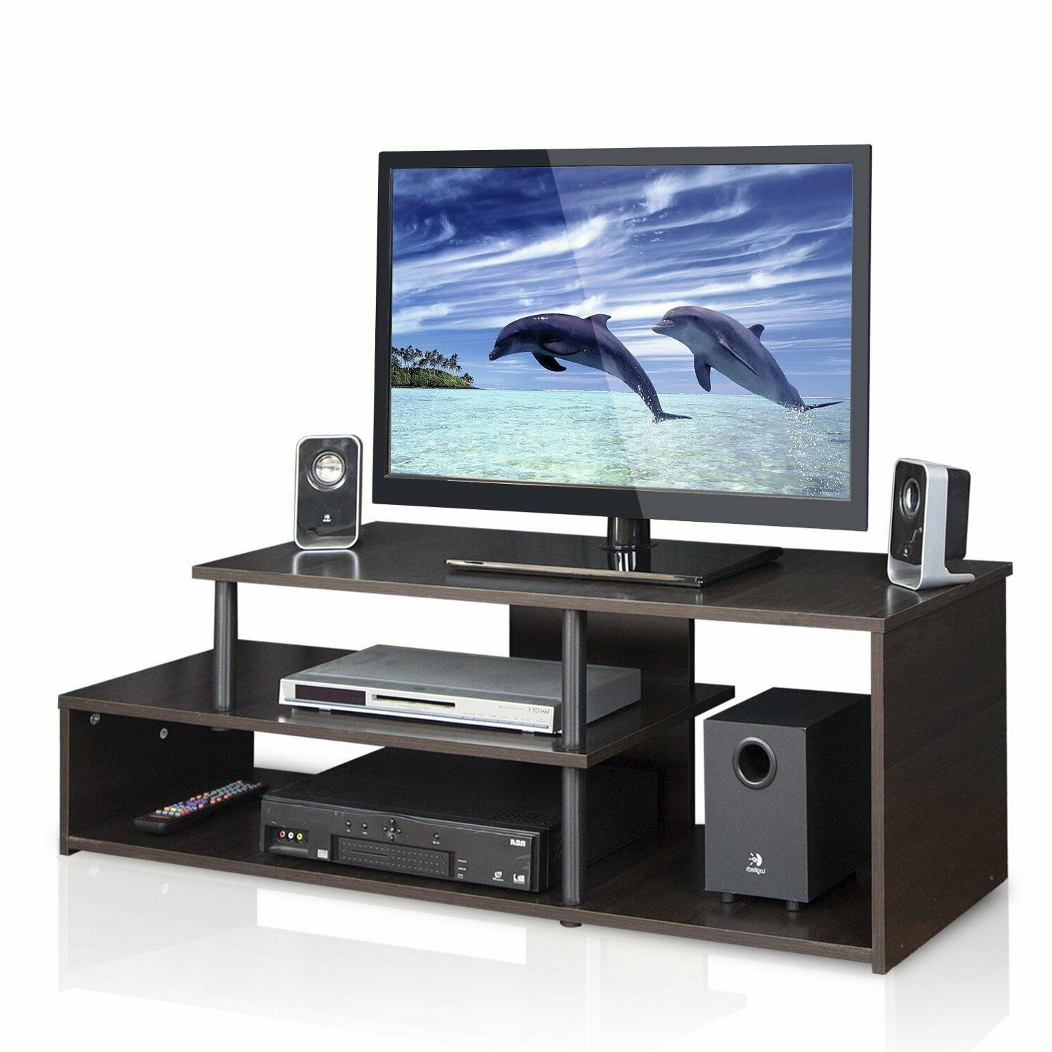 tv stand low rise with display shelves
