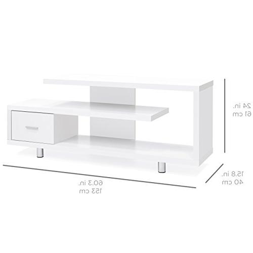 Best Choice Living Room Home Media Console TV Stand Storage Cabinet Display 3 Sliding Drawer - White