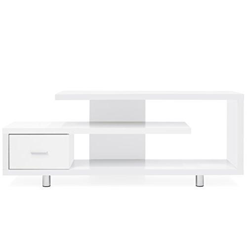 Best Products Room Media Storage Cabinet w/ 3 Shelves, - White