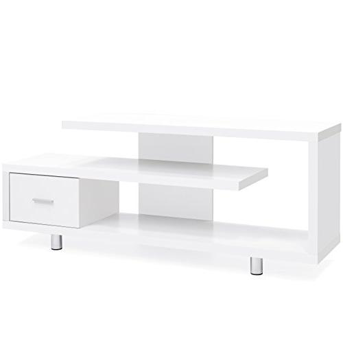 Best Products Living Room Entertainment Systems Media Console TV Stand Storage 3 Shelves, Sliding Drawer -