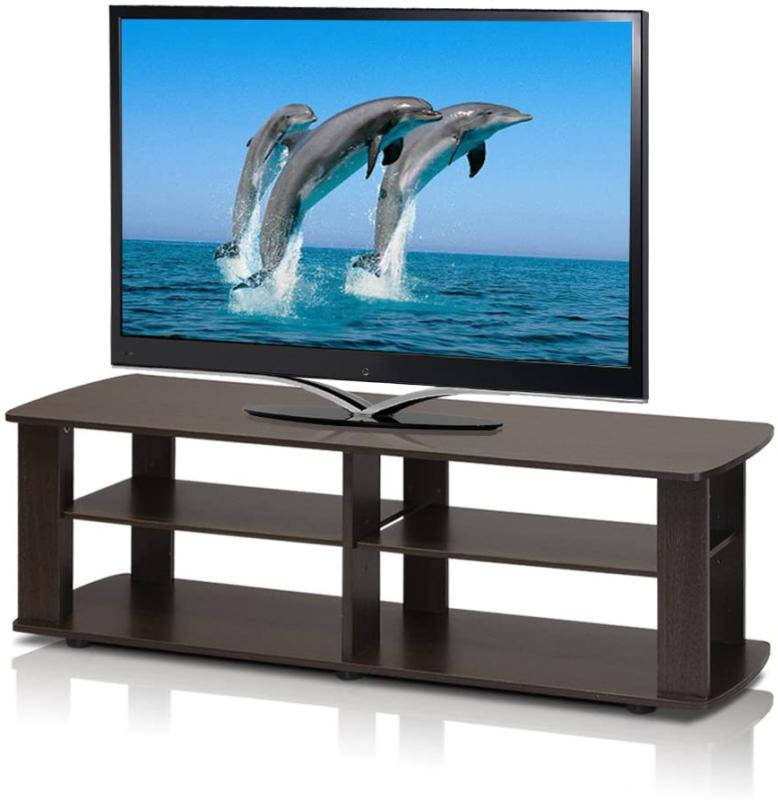 Tv Stand Media Dark Brown Entertainment Center Sturdy 42 50