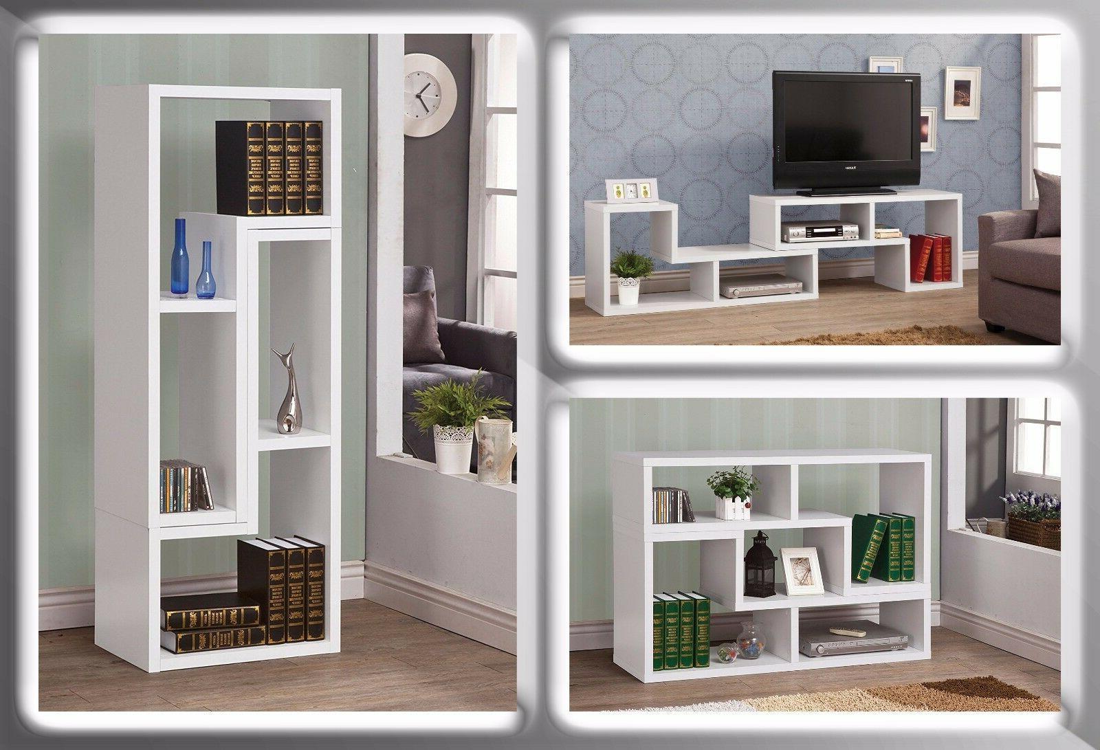 TV Stand Modern Bookcase Storage Organizer Wood Cabinet Cube