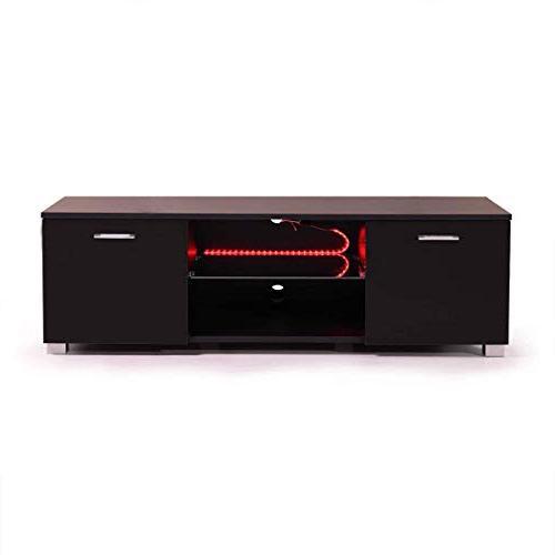 """Tobbi 47"""" Unit Console Living Room Furniture w/LED Shelves Black"""