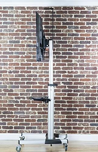 """VIVO Heavy Duty TV Flat Screen Rolling Stand 3"""" Wheels/fits 70"""""""
