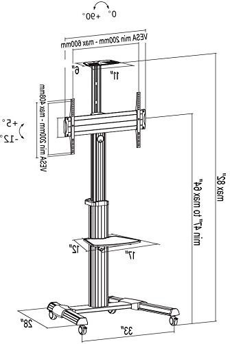 """VIVO Ultra Heavy TV for Screen Panel Rolling Stand w/dual 3"""" Wheels/fits 37"""" 70"""""""