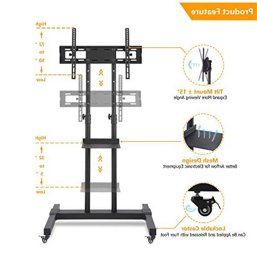 """TAVR Universal Dual Cart Mobile Stand Suitable for to 70"""" Televisions, Height Adjustable, Black MT1002"""