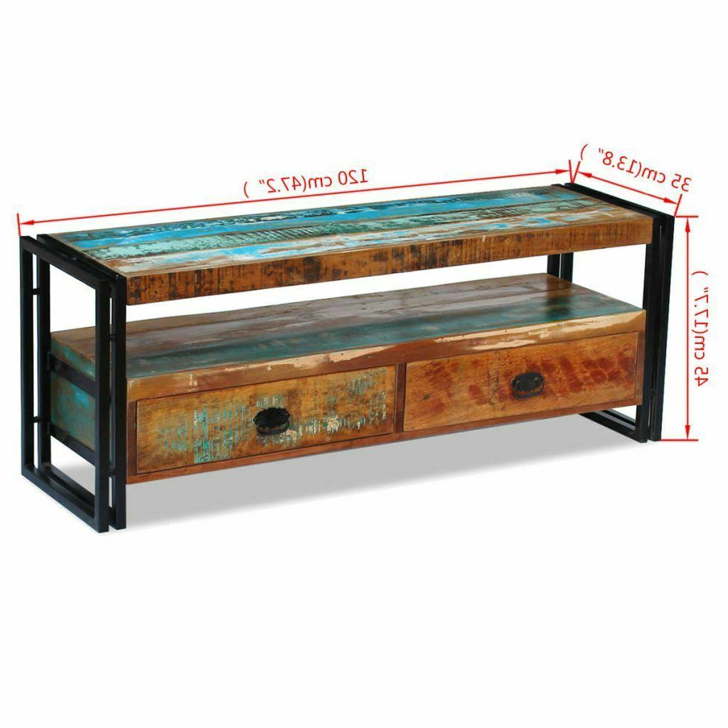 Home TV Cabinet Solid Reclaimed Wood Display Stand Entertain