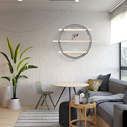 Wall-Mounted Rack Minimalist Solid Wood Shelf Wrought Wall Round Flower Wall Decorative