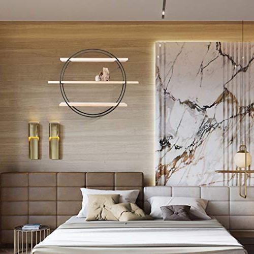 Wall-Mounted Nordic Minimalist Wood Shelf Wrought Round Wall Decorative