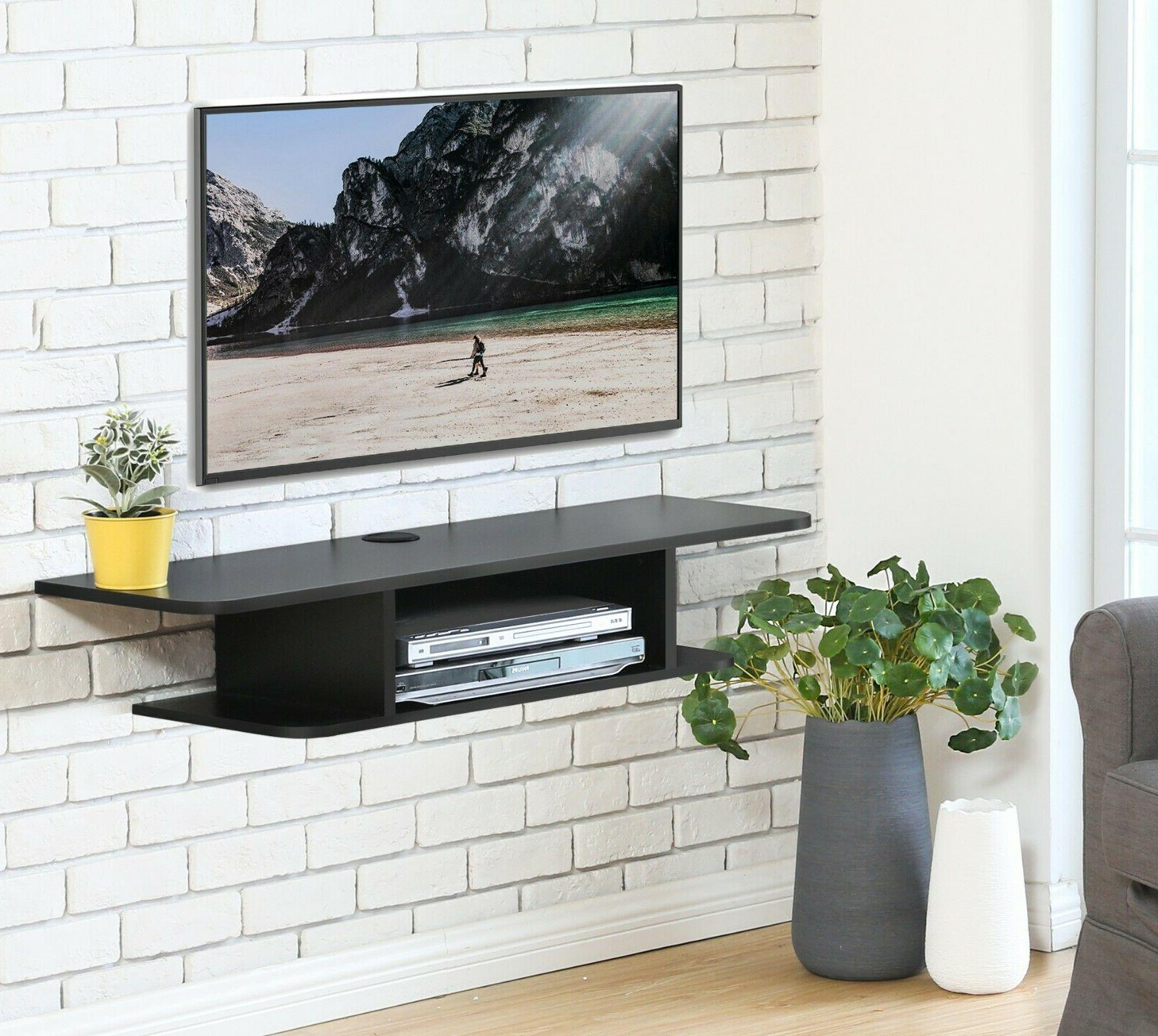 wall mounted 2 tier media console floating