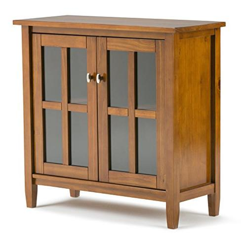 Simpli Home Warm Shaker Low Storage Cabinet Honey Brown