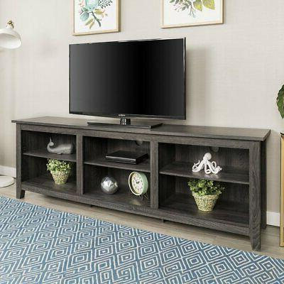 wide television stand charcoal finish