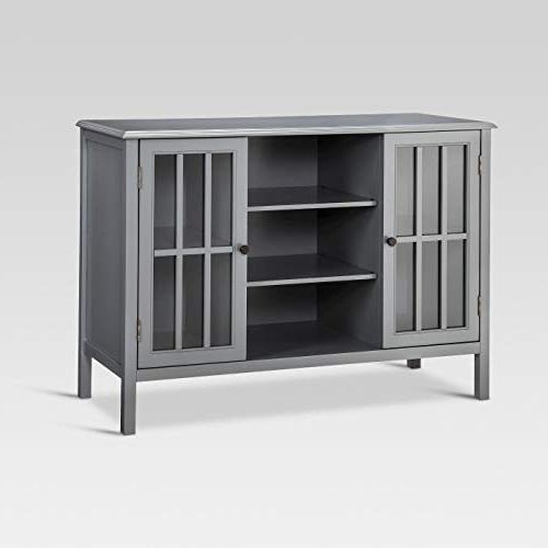 Windham Two Door Shelves Storage Cabinet Overcast Gray