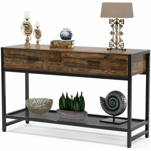 Wood and Metal Entryway Table TV Stand Console Table w/ Open