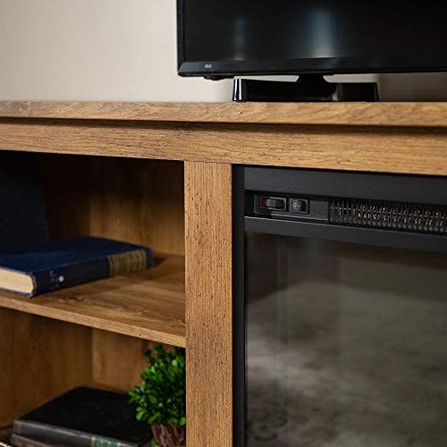 """WE Furniture 70"""" Media Console with Fireplace - Barnwood"""