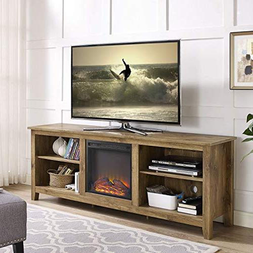 WE Furniture Wood Media TV Console with Fireplace