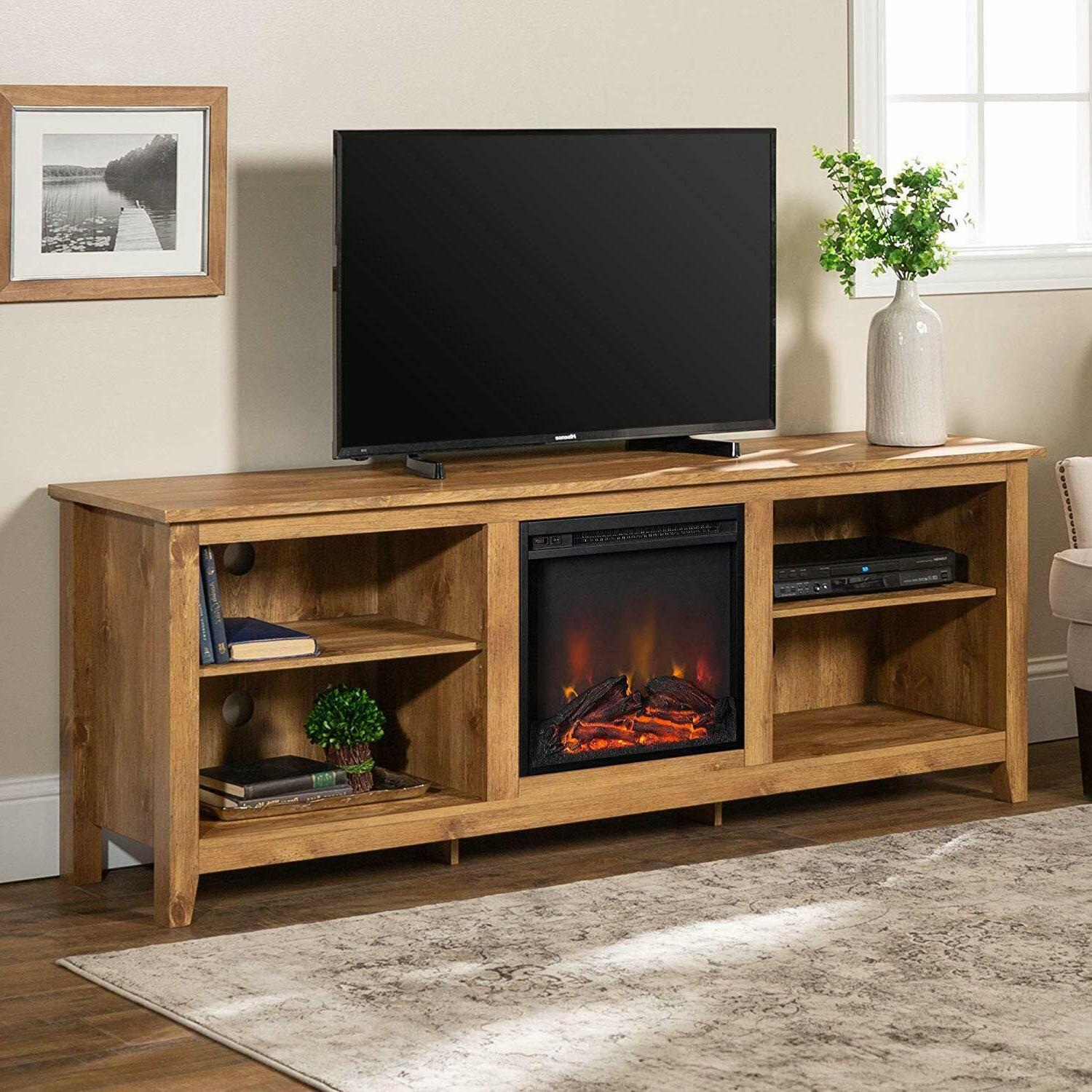 wood media tv stand console