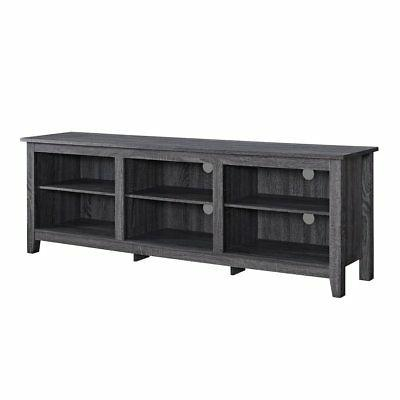 wood media tv stand storage