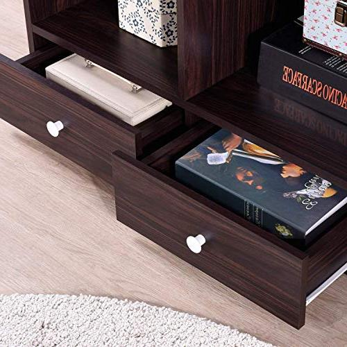 Harper&Bright Wood Stand Storage with Drawers Shelves Console Table Storage
