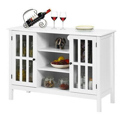 Wood TV Stand Storage Console Free Standing Cabinet Holds Up