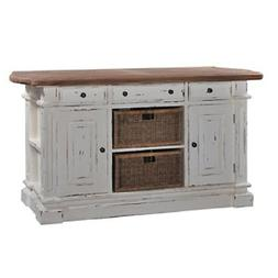 Large Kitchen Counter Island with Baskets Bar White Distress