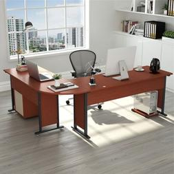 Tribesigns Large Modern L-Shaped Desk 83'' Wood & Metal Corn
