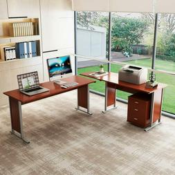 Large Reversible Modern L-Shaped Desk with Cabinet Double Co