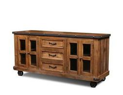Crafters and Weavers Larson 4 Door 3 Drawer TV Stand - 65 in
