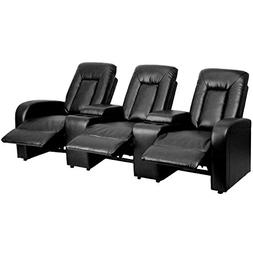 Leather 3-Seat Home Theater Recliner with Storage Consoles,