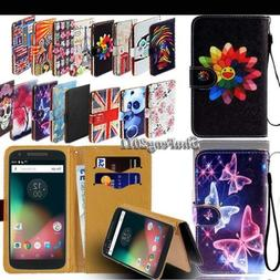 Leather Stand Flip Card Wallet Cover Case For Motorola Moto
