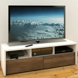 Liber-T 60-inch TV Stand 210403 from Nexera, White and Walnu