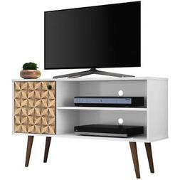 """Manhattan Comfort Liberty 43"""" TV Stand in White and 3D Brown"""