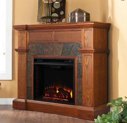 Electric Fireplace Mantel Corner TV Stand Faux Stone Convert