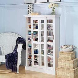 Media Cabinet Bookcase With 8 Shelves - White