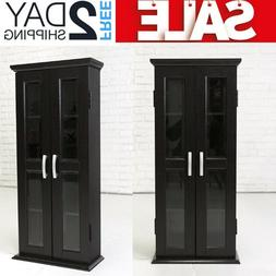 Media Cabinet With Glass Doors Cd DvD Multimedia Storage Tow