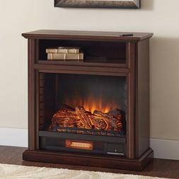 Electric Fireplace Media Console Brown TV Stand Shelf Remote
