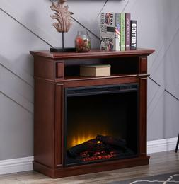 Electric Fireplace Media Console Wood Mantel Brown TV Stand