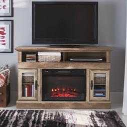 Media Fireplace TV Stand Electric Rustic Weathered Distresse
