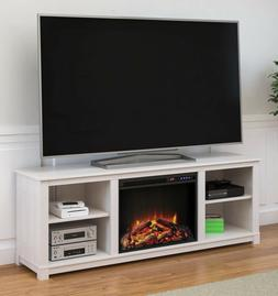 White Media Fireplace TV Stand Wood Entertainment Console 65
